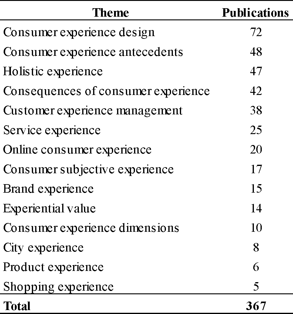 Main themes developed under consumer experience